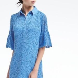 NEW Banana Republic Blue Lace Flutter Sleeve Dress